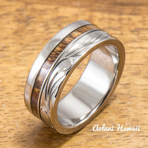 Titanium Wedding Ring Set with Hawaiian Koa Wood Inlay (6mm - 8mm Width, Flat Style) - Aolani Hawaii - 2