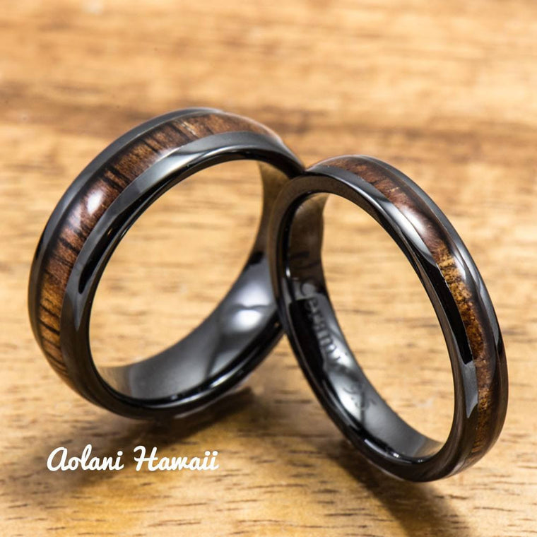 Black Wedding Ring Set - Black Ceramic Ring with Koa Wood Inlay (4mm & 6mm width, Barrel Style)