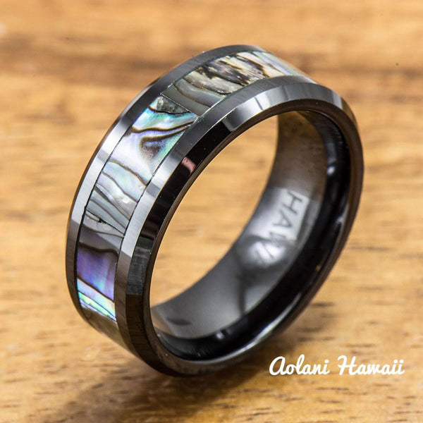Black Ceramic and Tungsten Pair Rings (5mm & 8mm width) - Aolani Hawaii - 2