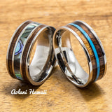 Titanium and Stainless Hawaiian Koa Titanium Wedding Band Set (10mm - 8mm Width, Flat Style) - Aolani Hawaii - 1