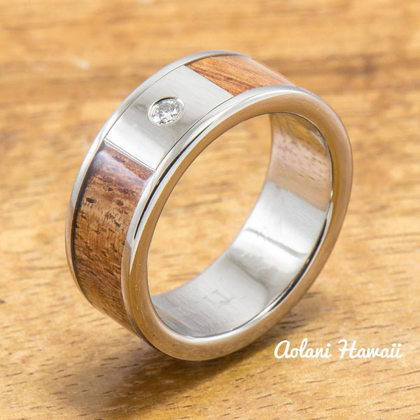 Diamond Titanium Wedding Ring Set with Hawaiian Koa Wood Inlay (8mm - 8mm Width, Flat Style) - Aolani Hawaii - 2