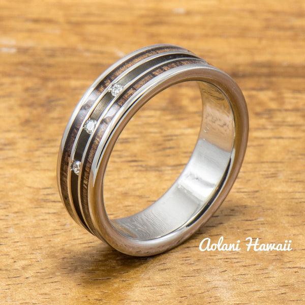 Diamond Titanium Wedding Ring Set with Hawaiian Koa Wood Inlay (6mm - 8mm Width, Flat Style) - Aolani Hawaii - 4