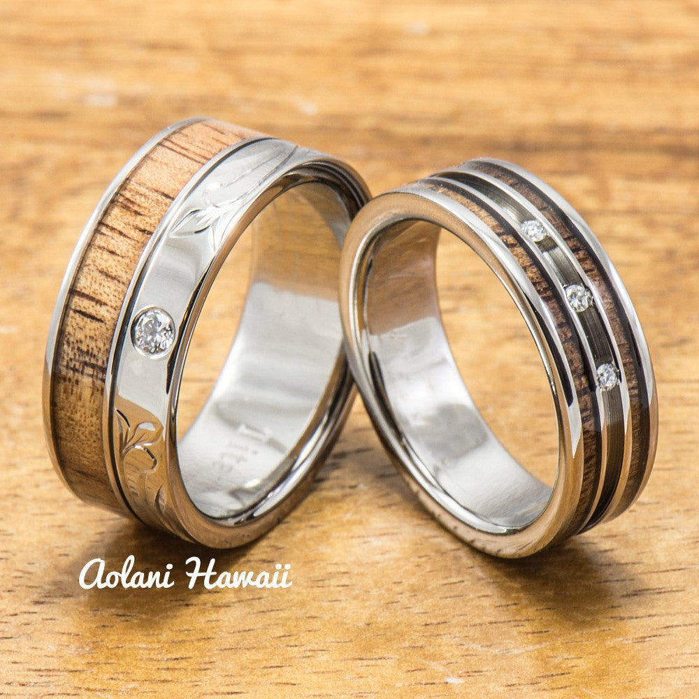 Diamond Titanium Wedding Ring Set with Hawaiian Koa Wood Inlay (6mm - 8mm Width, Flat Style) - Aolani Hawaii - 1