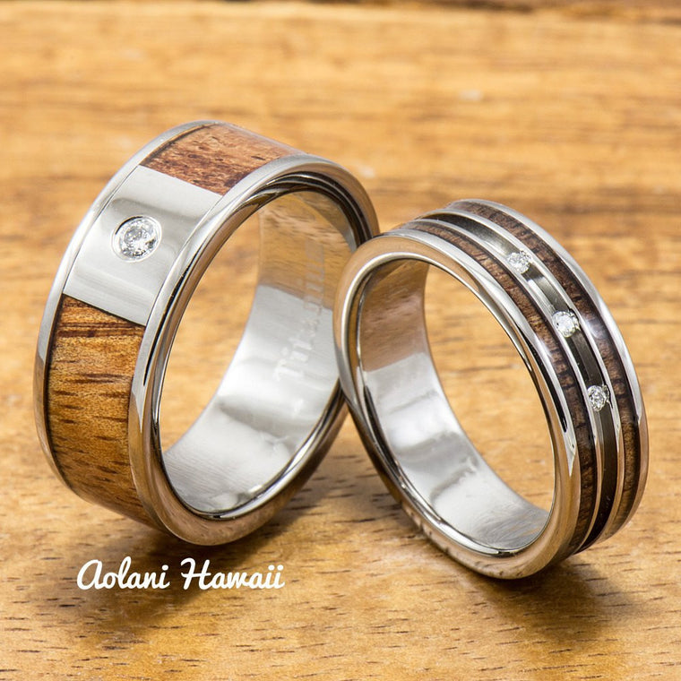 Diamond Titanium Wedding Ring Set with Hawaiian Koa Wood Inlay (6mm - 8mm Width, Flat Style)