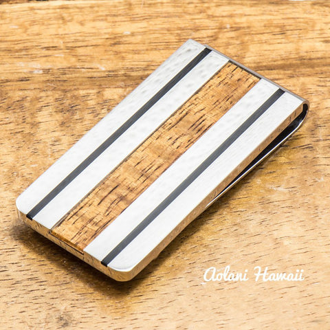Stainless Steel Koa Wood Money Clip