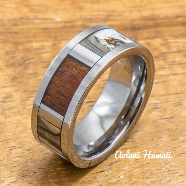 Tungsten Abalone Ring Made with Hawaiian Koa Wood Inlay (8mm Width, Flat style) - Aolani Hawaii - 1