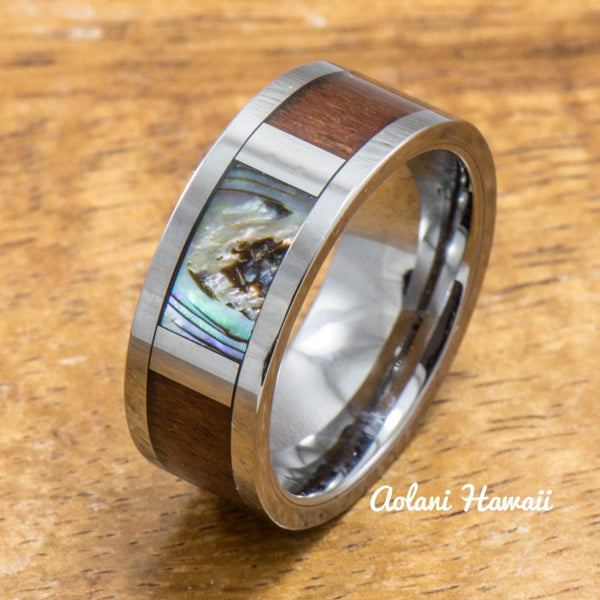 Tungsten Abalone Ring Made with Hawaiian Koa Wood Inlay (8mm Width, Flat style) - Aolani Hawaii - 4