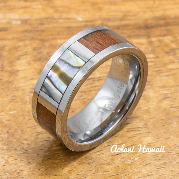 Tungsten Abalone Ring Made with Hawaiian Koa Wood Inlay (8mm Width, Flat style) - Aolani Hawaii - 3