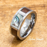 Tungsten Abalone Ring Made with Hawaiian Koa Wood Inlay (8mm Width, Flat style) - Aolani Hawaii - 2