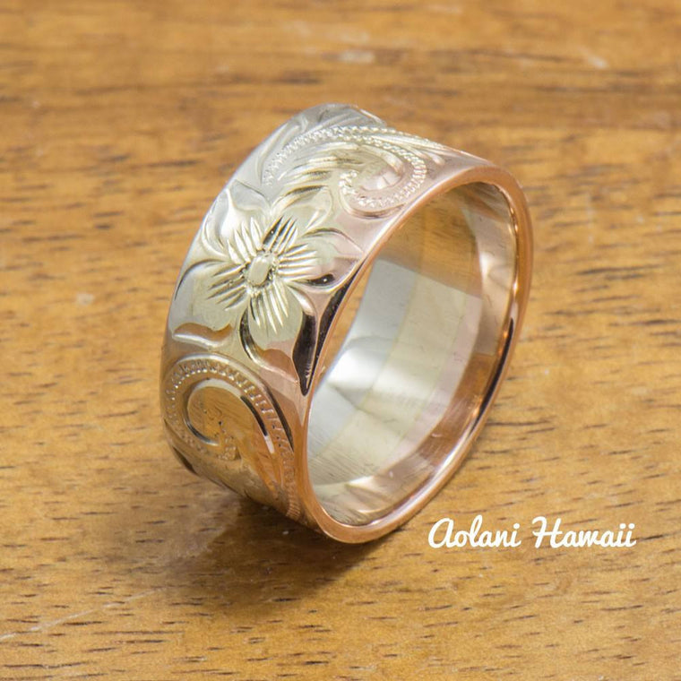 3 Tone 14k Gold Traditional Hawaiian Ring Hand Engraved (Flat style, 9mm)