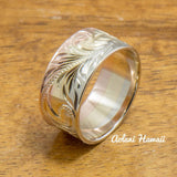 3 Tone 14k Gold Traditional Hawaiian Ring Hand Engraved (Flat style, 9mm) - Aolani Hawaii - 2