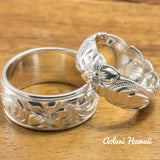 Set of Traditional Hawaiian Hand Engraved Sterling Silver Barrel Rings (10mm & 8mm width, Barrel Style) - Aolani Hawaii - 2