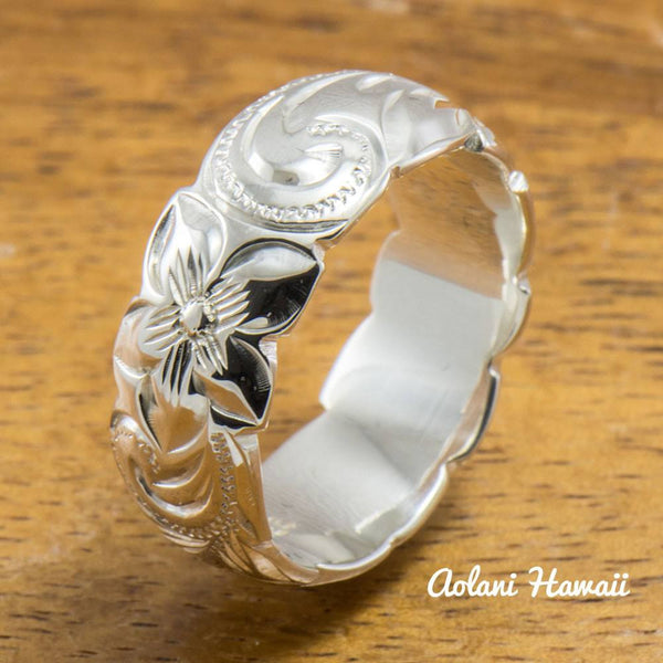 Set of Traditional Hawaiian Hand Engraved Sterling Silver Barrel Rings (10mm & 8mm width, Barrel Style) - Aolani Hawaii - 4