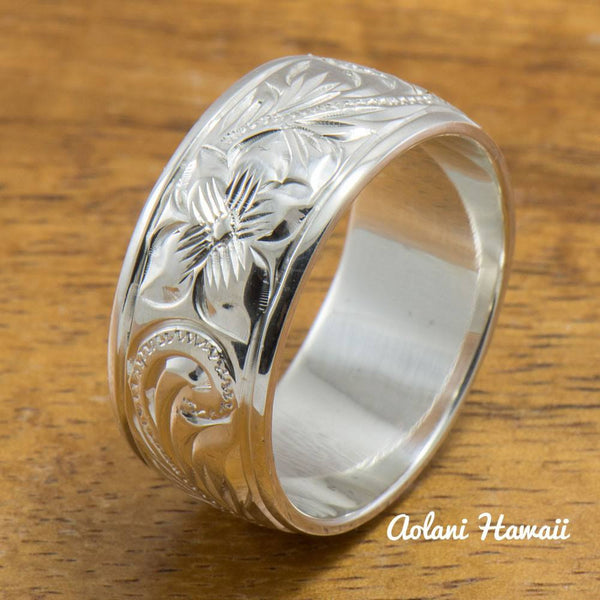 Set of Traditional Hawaiian Hand Engraved Sterling Silver Barrel Rings (10mm & 8mm width, Barrel Style) - Aolani Hawaii - 3