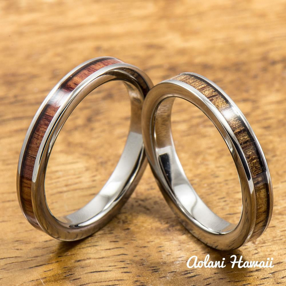 Tulip and Hawaiian Koa Titanium Wedding Band Set (3mm - 3mm Width, Flat Style) - Aolani Hawaii - 1