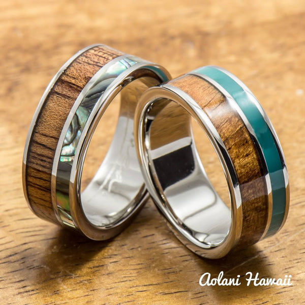Abalone and Turquoise Hawaiian Koa Titanium Wedding Band Set (8mm - 8mm Width, Flat Style) - Aolani Hawaii - 1