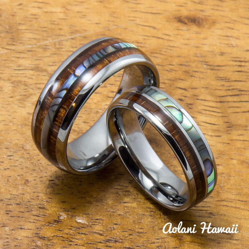 Tungsten Abalone Wedding Band Set with Mother of Pearl Abalone and Koa Wood Inlay (6mm - 8mm Width) - Aolani Hawaii - 1
