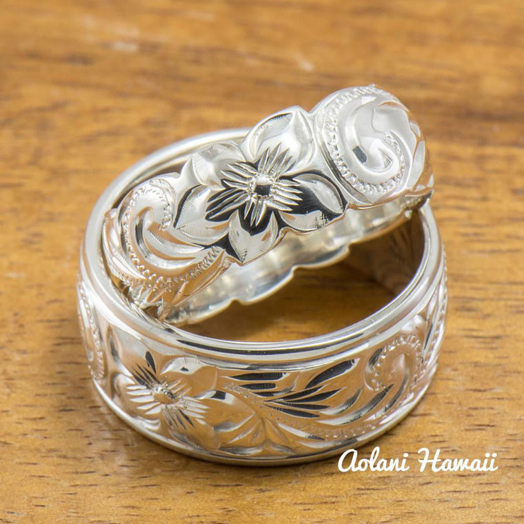 Set of Traditional Hawaiian Hand Engraved Sterling Silver Rings (10mm & 8mm width, Barrel Style)