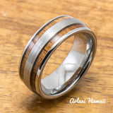 Wedding Band Set of Brushed Tungsten Rings with Koa Wood Inlay (6mm & 8mm width, Barrel Style) - Aolani Hawaii - 2