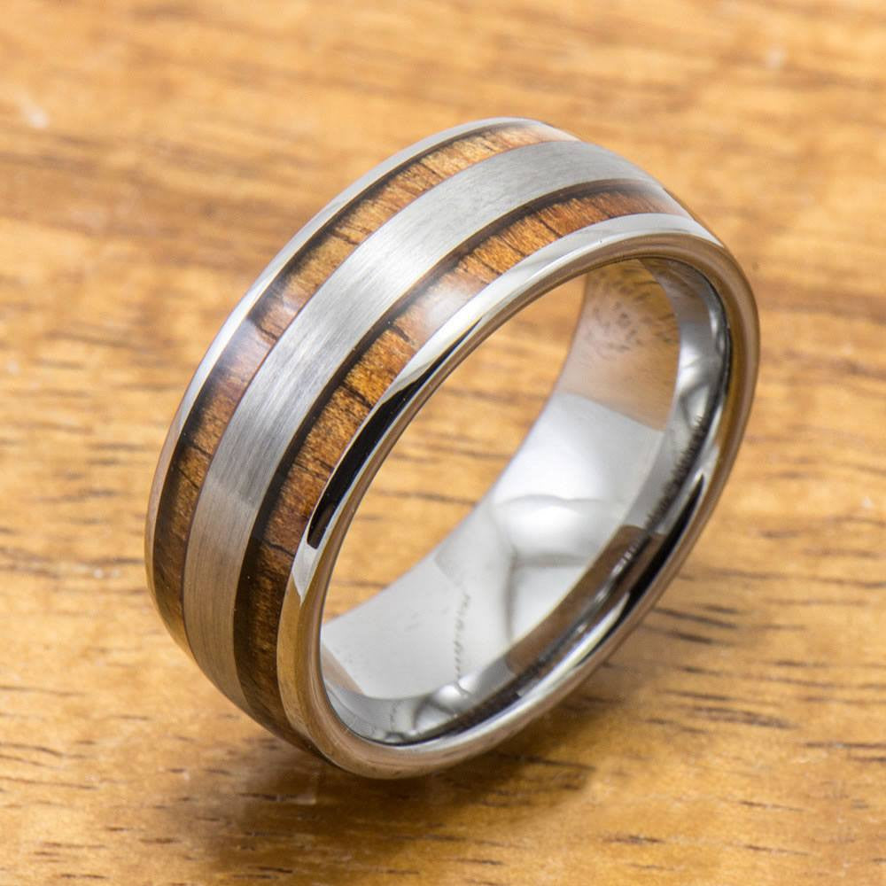 Brushed Tungsten Ring with Hawaiian Wood Inlay (6mm - 8mm width, Barrel style)