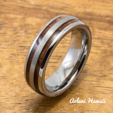 Wedding Band Set of Brushed Tungsten Rings with Koa Wood Inlay (6mm & 8mm width, Barrel Style) - Aolani Hawaii - 3