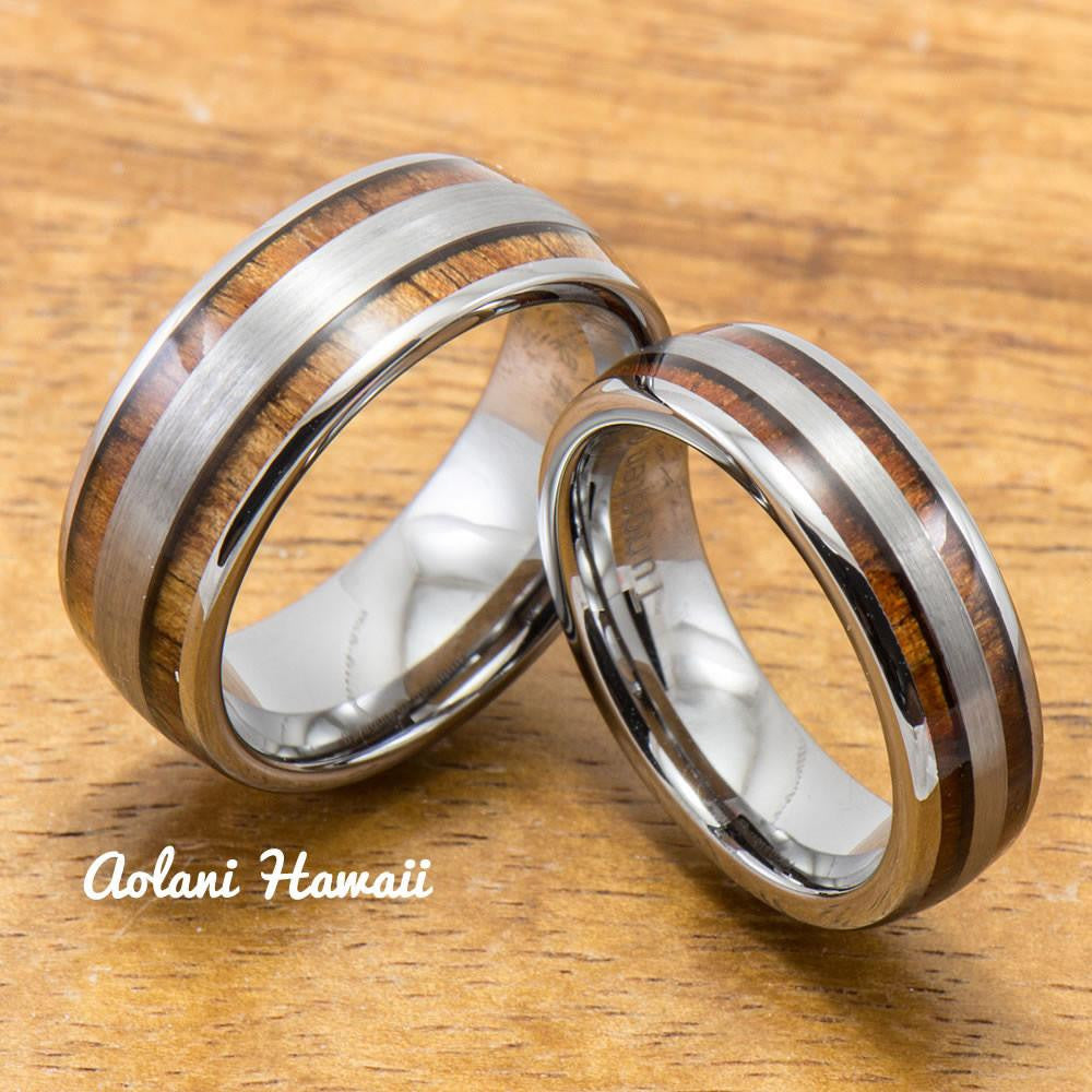 Wedding Band Set of Brushed Tungsten Rings with Koa Wood Inlay (6mm & 8mm width, Barrel Style) - Aolani Hawaii - 1