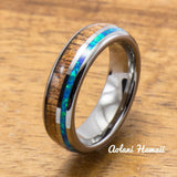 Tungsten Wedding Band Set with Opal and Koa Wood Inlay (6mm - 8mm Width) - Aolani Hawaii - 3