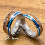Tungsten Wedding Band Set with Opal and Koa Wood Inlay (6mm - 8mm Width) - Aolani Hawaii - 1
