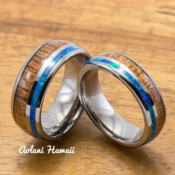 Opal Koa Wood Inlay Tungsten Ring (6mm - 8mm Width, Barrel style) - Aolani Hawaii - 3