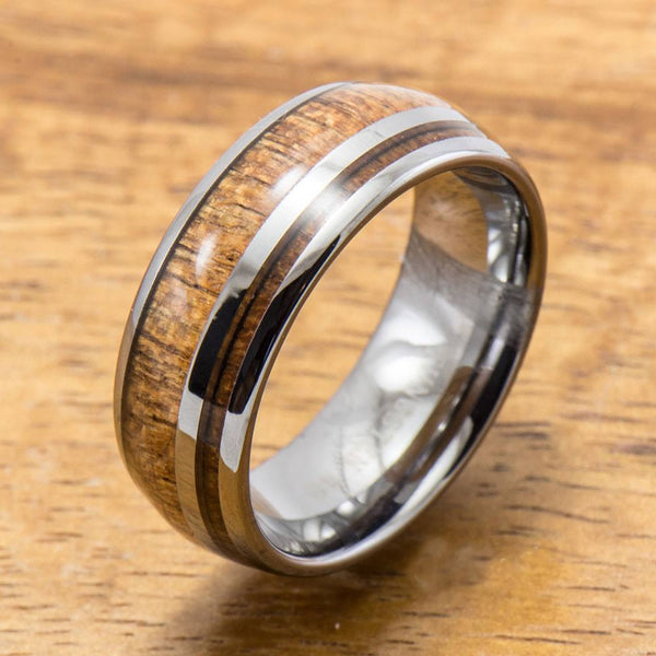 Hawaiian Koa Wood Inlay Tungsten Ring (6mm - 8mm Width, Barrel style)