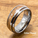 Hawaiian Koa Wood Inlay Tungsten Ring (6mm - 8mm Width, Barrel style) - Aolani Hawaii - 1