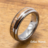 Hawaiian Koa Wood Inlay Tungsten Ring (6mm - 8mm Width, Barrel style) - Aolani Hawaii - 2