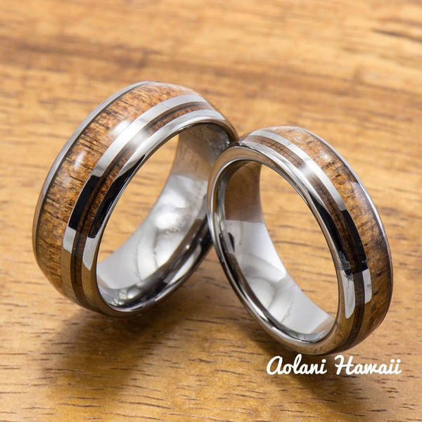 Hawaiian Koa Wood Inlay Tungsten Ring (6mm - 8mm Width, Barrel style) - Aolani Hawaii - 3