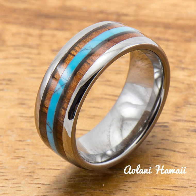 Turquoise Tungsten Ring Koa Wood Inlay (8mm Width, Barrel style)
