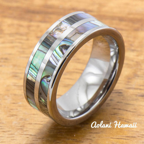 Abalone Ring Made with Tungsten and Koa Wood Inlay (8mm Width, Flat style) - Aolani Hawaii