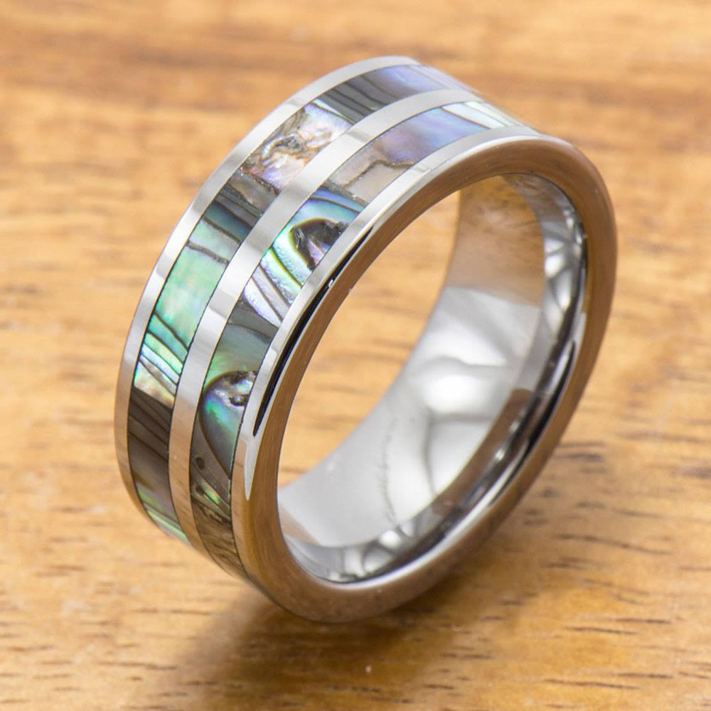 Deal - Abalone Ring Made with Tungsten and Koa Wood Inlay (8mm Width, Flat style)