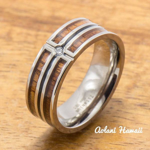 CZ Stone Titanium Ring with Hawaiian Koa Wood Inlay (8 mm width, Flat Style) - Aolani Hawaii