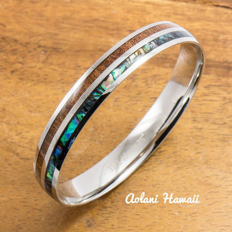 Abalone Koa Wood Bracelet handmade with Stainless Steel (6mm - 10mm width)