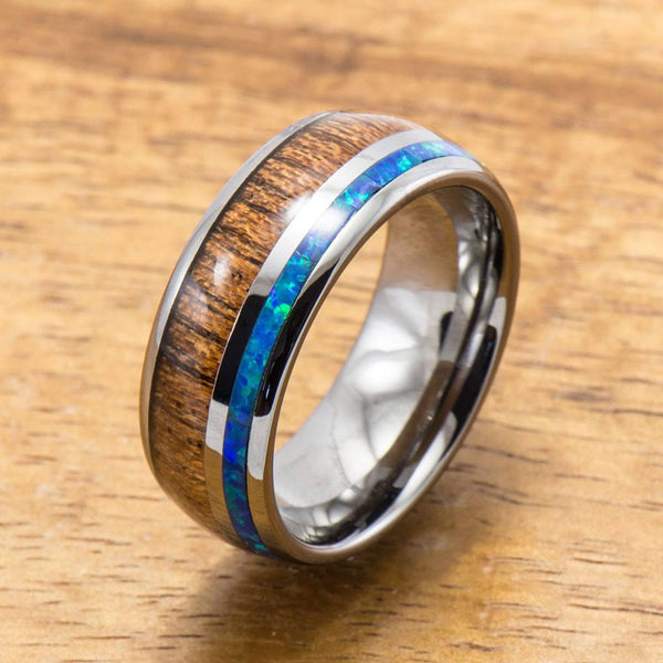 Opal Koa Wood Inlay Tungsten Ring (6mm - 8mm Width, Barrel style)