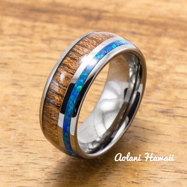 Opal Koa Wood Inlay Tungsten Ring (6mm - 8mm Width, Barrel style) - Aolani Hawaii - 1