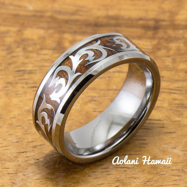 Old English Leaf & Wave Tungsten Ring with Koa Wood Inlay (8mm Width, Flat style) - Aolani Hawaii - 1