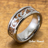 Old English Leaf & Wave Tungsten Ring with Koa Wood Inlay (8mm Width, Flat style) - Aolani Hawaii - 2