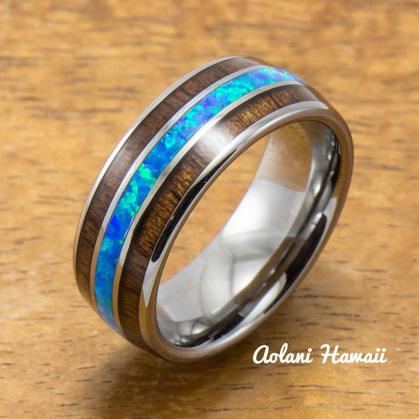 Tungsten Opal Ring With Koa Wood Inlay (8mm Width, Barrel style) - Aolani Hawaii