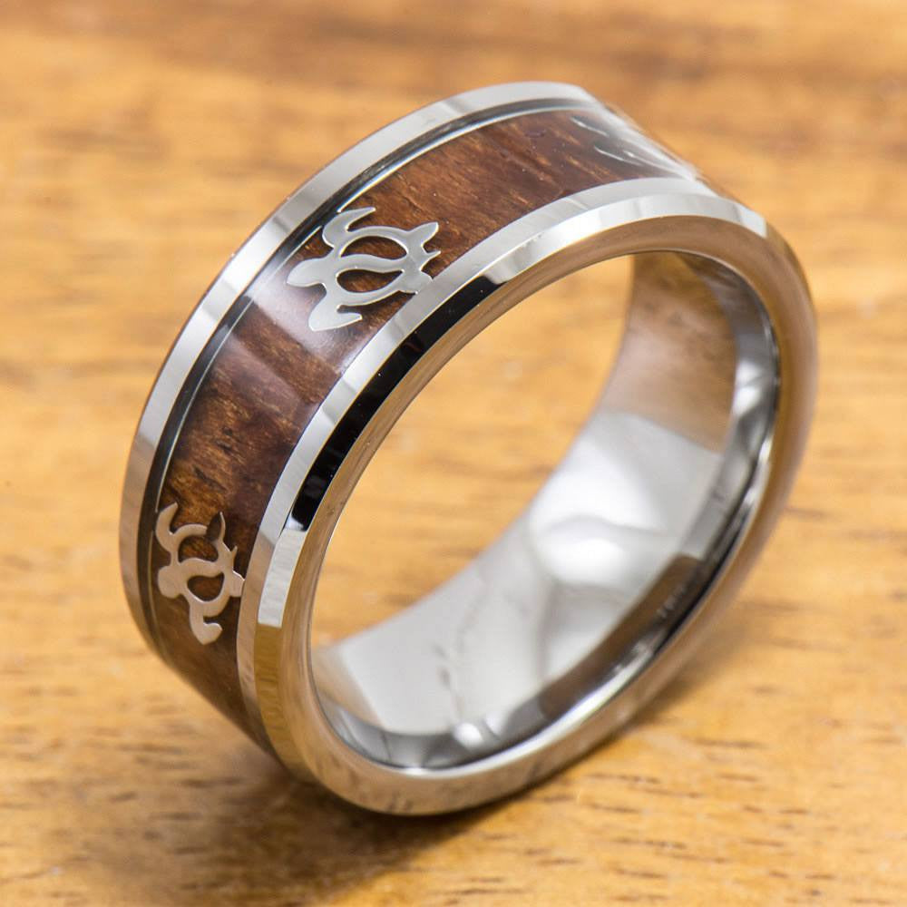 Tungsten Turtle Ring with Koa Wood Inlay (8mm Width, Flat style)