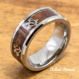 Tungsten Turtle Ring with Koa Wood Inlay (8mm Width, Flat style) - Aolani Hawaii