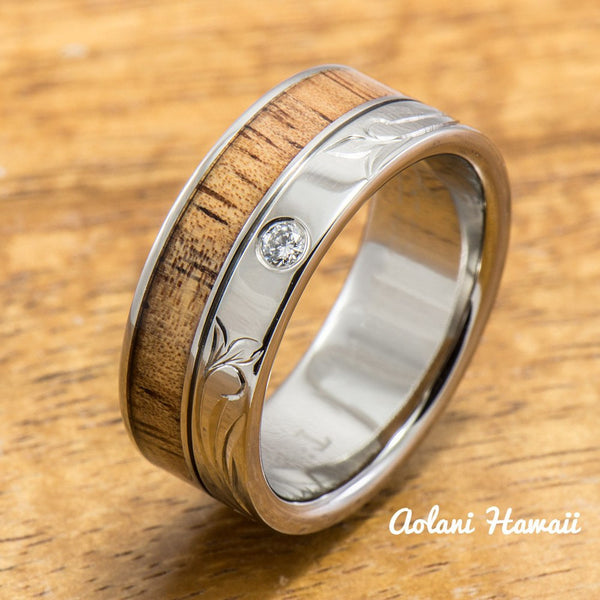 Diamond Titanium Wedding Ring Set with Hawaiian Koa Wood Inlay (8mm - 8mm Width, Flat Style) - Aolani Hawaii - 3