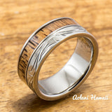 Diamond Titanium Wedding Ring Set with Hawaiian Koa Wood Inlay (8mm - 8mm Width, Flat Style) - Aolani Hawaii - 4