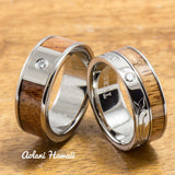 Diamond Titanium Wedding Ring Set with Hawaiian Koa Wood Inlay (8mm - 8mm Width, Flat Style) - Aolani Hawaii - 1