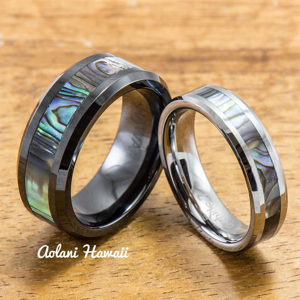 Black Ceramic and Tungsten Pair Rings (5mm & 8mm width) - Aolani Hawaii - 1