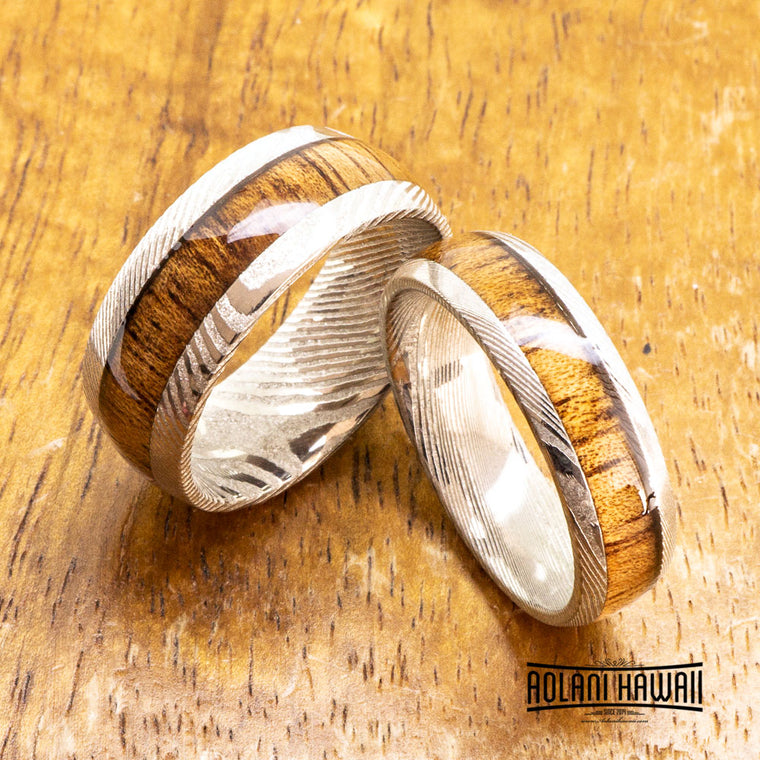Damascus Steel Ring with Hawaiian Koa Wood (6mm - 8mm width, Barrel Style)